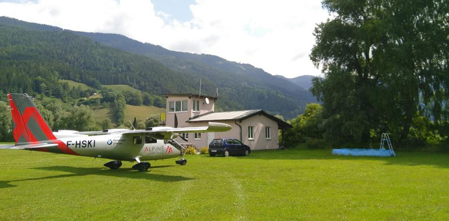 Aircraft in Garden Trieben Austria Alpine Airlines